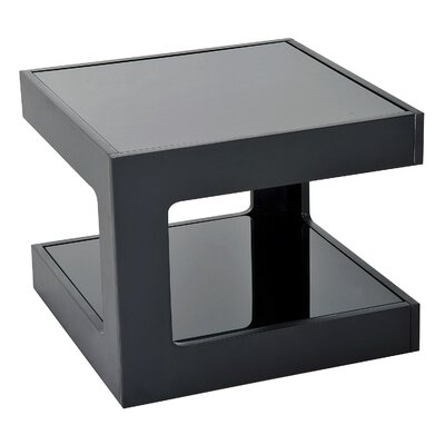 Atropos Modern Glass Top Cube End Table Color: Black