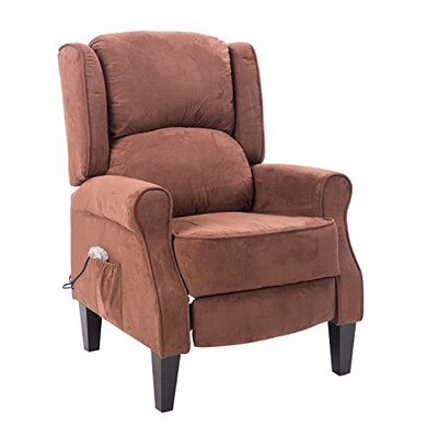 Vanvalkenburg Heated Vibrating Suede Massage Manual Recliner Upholstery: Brown