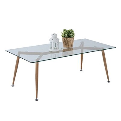 Chea Mid-Century Modern Tempered Glass Retro Coffee Table Color: Clear