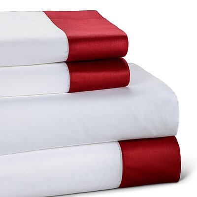 400 Thread Count Color Block Cotton Sheet Set Size: Full, Color: Ruby
