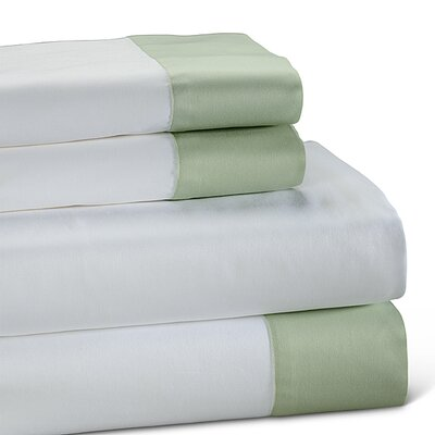 400 Thread Count Color Block Cotton Sheet Set Size: King, Color: Sage