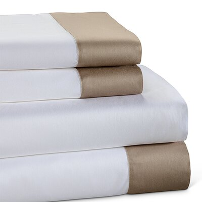 400 Thread Count Color Block Cotton Sheet Set Color: Taupe, Size: Twin