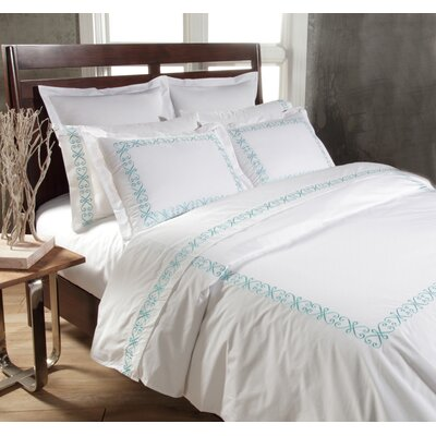 Swirl 3 Piece Duvet Cover Set Color: White / Teal, Size: King