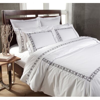 Swirl 3 Piece Duvet Cover Set Color: White / Black, Size: King