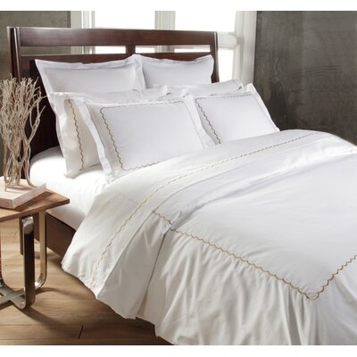 Scallop 3 Piece Duvet Cover Set Color: White / Taupe, Size: King