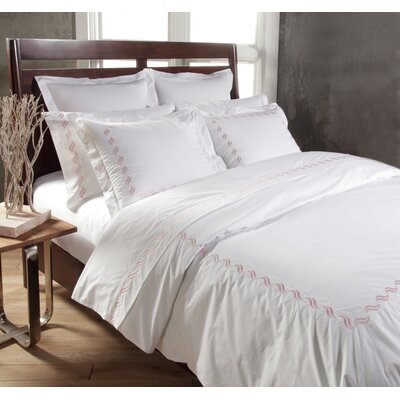 Scroll 3 Piece Duvet Cover Set Color: White/Rose, Size: King