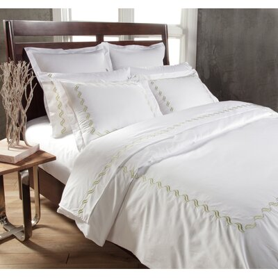 Scroll 3 Piece Duvet Cover Set Color: White/Sage, Size: Queen