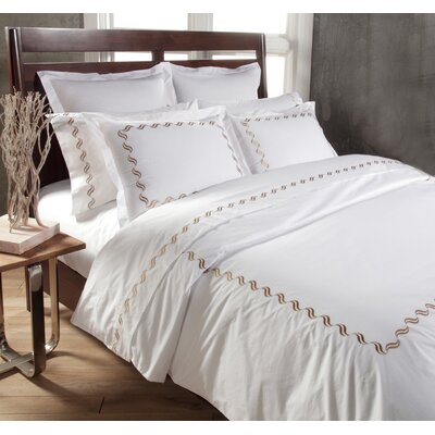 Scroll 3 Piece Duvet Cover Set Color: White/Taupe, Size: King