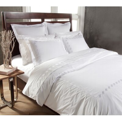 Scroll 3 Piece Duvet Cover Set Color: White, Size: King