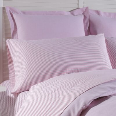 Yarn Dyed Stripe Cotton Pillow Case Color: Coral