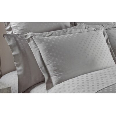 Diamond Woven Jacquard Pillow Case Color: Charcoal, Size: Standard