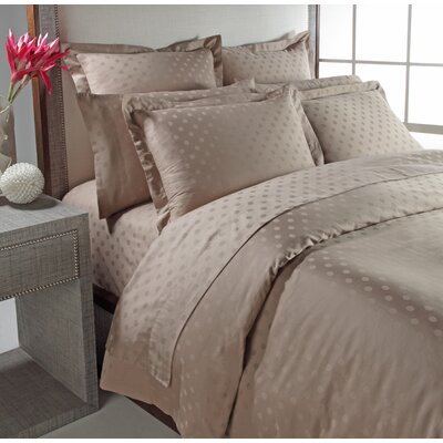 Dot Woven Jacquard Reversible Duvet Cover Set Color: Taupe, Size: Full/ Queen