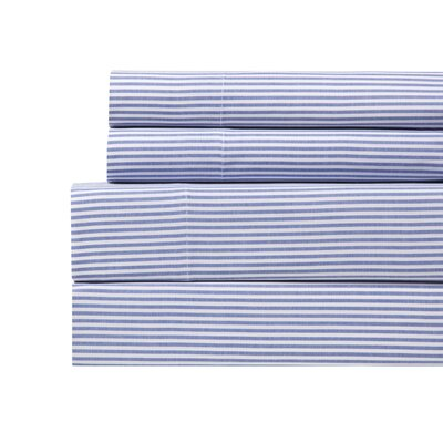 Yarn Dyed Stripe Sheet Set Color: French Blue, Size: King