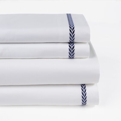 Proctor Leaf Embroidered 300 Thread Count 100% Cotton Sheet Set Size: Queen, Color: Navy