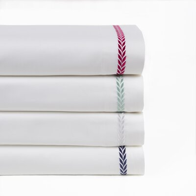 Proctor Leaf Embroidered 300 Thread Count 100% Cotton Sheet Set Size: Queen, Color: White