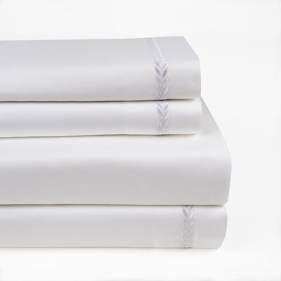 Proctor Leaf Embroidered 300 Thread Count 100% Cotton Sheet Set Size: Full/Double, Color: White