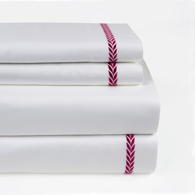 Proctor Leaf Embroidered 300 Thread Count 100% Cotton Sheet Set Size: Full/Double, Color: Berry