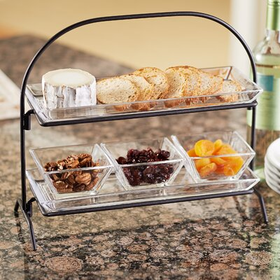 Artland Courtland 2-Tier Server With 2-Glass Trays, 3-SQ. Bowls