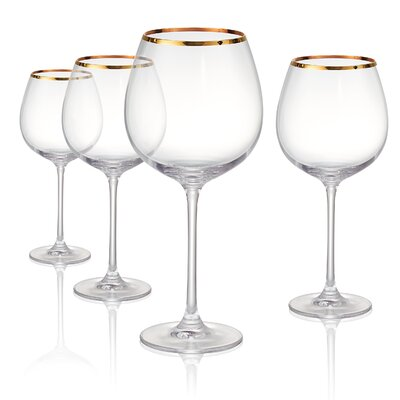 Gold Band Burgundy 24 oz Wine Glass