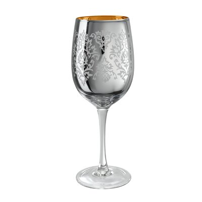 Brocade Wine Glass In Silver (set Of 4)