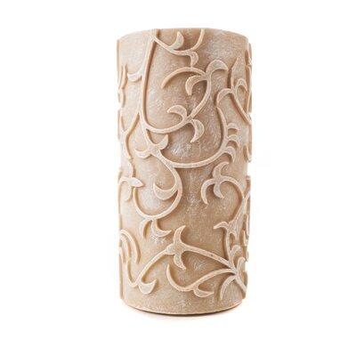 Carved Series Flameless Pillar Candle Size: 8