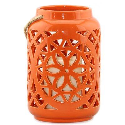 Floral Ceramic Unscented Jar Color: Orange