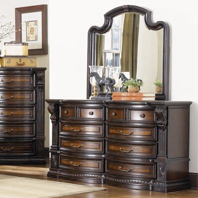 New Hampshire 10 Drawer Dresser and Mirror