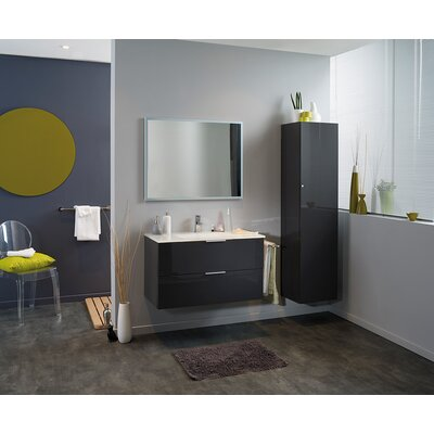 Luxy 36 Single Bathroom Vanity Set with Mirror Base Finish: Aubergine