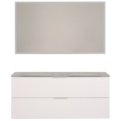 Luxy 48 Double Bathroom Vanity Set with Mirror Base Finish: White