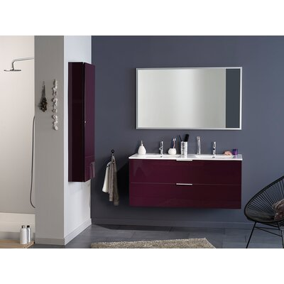 Luxy 48 Double Bathroom Vanity Set with Mirror Base Finish: Aubergine
