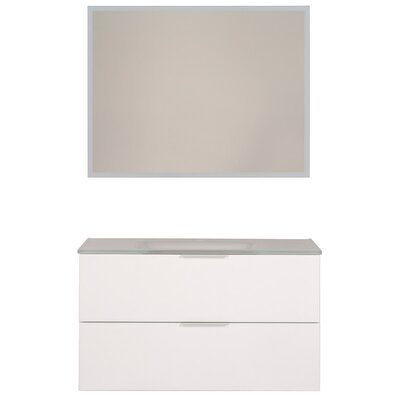 Luxy 36 Single Bathroom Vanity Set with Mirror Base Finish: White