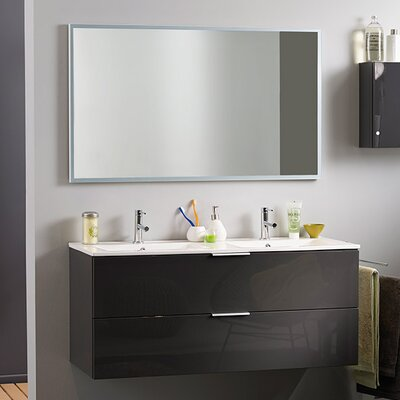 Luxy 48 Double Bathroom Vanity Set with Mirror Base Finish: Gray