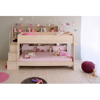 Bibop 2 Twin Over Twin Bunk  Bed with Trundle Finish: Acacia