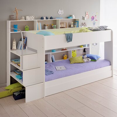 Bibop 2 Twin Over Twin Bunk  Bed with Trundle Finish: White