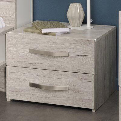 Caley 2 Drawer Nightstand Color: Portofino Gray
