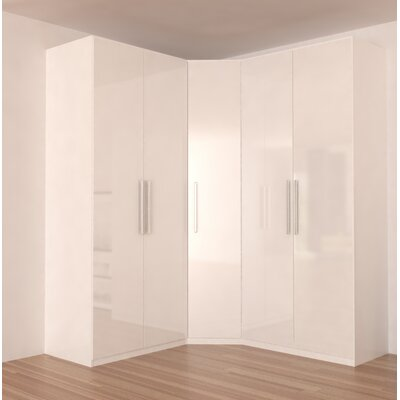 Landaverde Corner Wardrobe Armoire Color: White Gloss