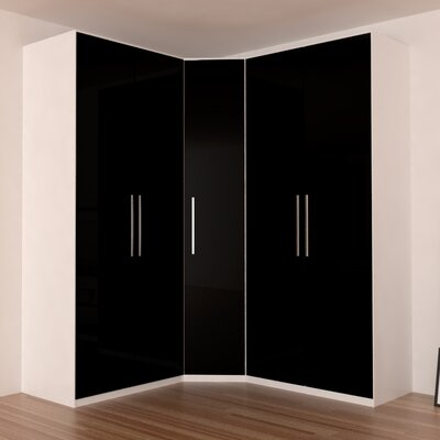 Landaverde Corner Wardrobe Armoire Color: Black Gloss