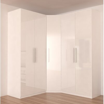 Landman Corner Wardrobe Armoire Color: White Gloss