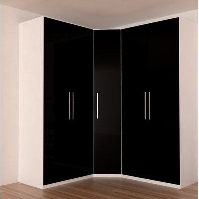 Landman Corner Wardrobe Armoire Color: Black Gloss