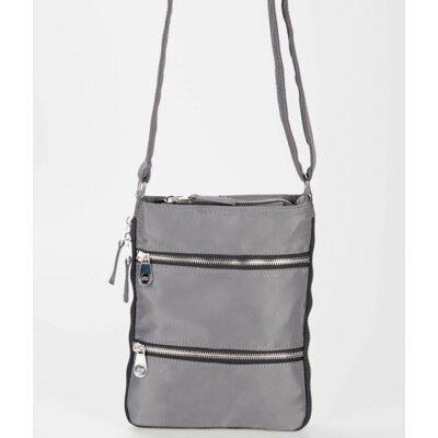 Sacs Collection Mini Zip Up Expandable Cross Body Bag - Color: Charcoal