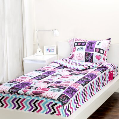 Rocker Princess 3 Piece Reversible Comforter Set