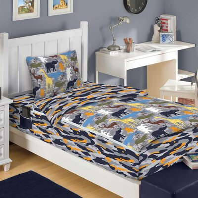 Wild Animals 3 Piece Reversible Bed-In-A-Bag Set