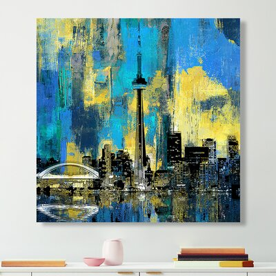 'Toronto Skyline 2' Graphic Art Print on Wrapped Canvas Size: 18