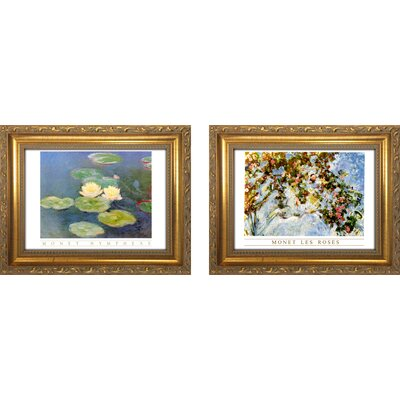 'Monet Les Roses' 2 Piece Framed Oil Painting Print Set