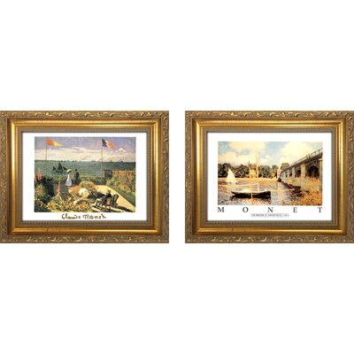 'Claude Monet 3' 2 Piece Framed Oil Painting Print Set