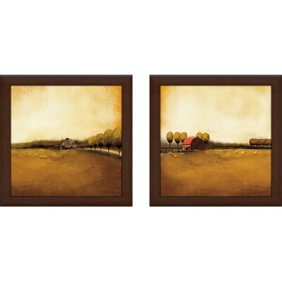 'Rural Landscape' 2 Piece Framed Acrylic Painting Print Set Under Glass
