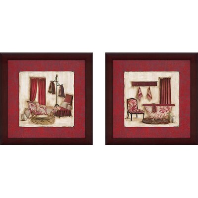 'Ruby Romance' 2 Piece Framed Painting Print Set on Canvas