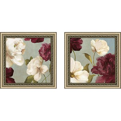 'Deep Peonies II' 2 Piece Framed Painting Print Set on Canvas