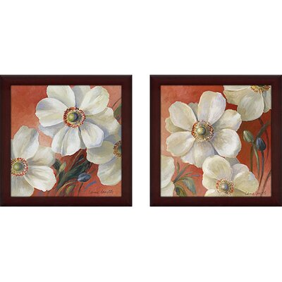 'Fleurs I' 2 Piece Framed Graphic Art Print Set on Canvas