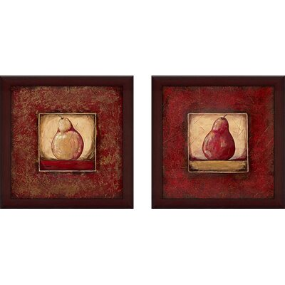 'Pear I' 2 Piece Framed Graphic Art Print Set on Canvas
